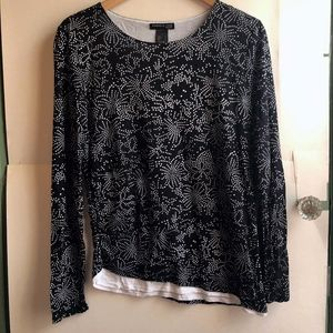 KENNETH COLE Black White Floral Long Sleeve Blouse